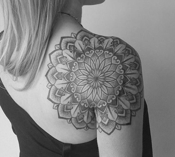 canggu tattoo mandala design black white